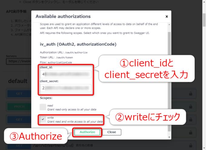 マネーフォワードクラウド請求書APIのavailable authorizations