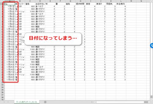 エクセルでCSVデータが日付に変換されてしまう