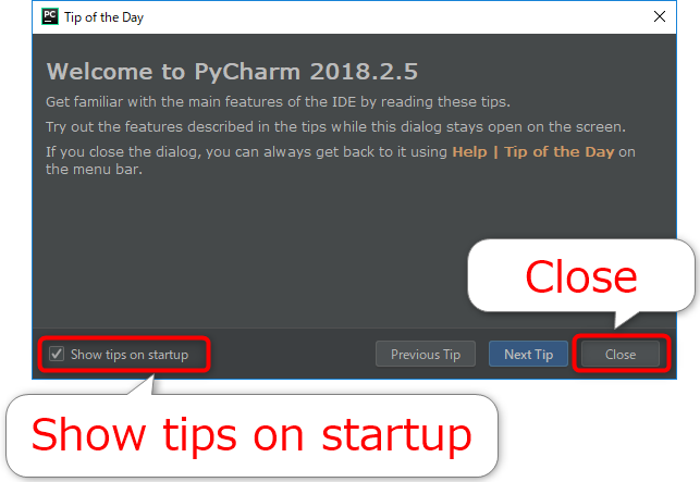 PyCharmのTip of the Day