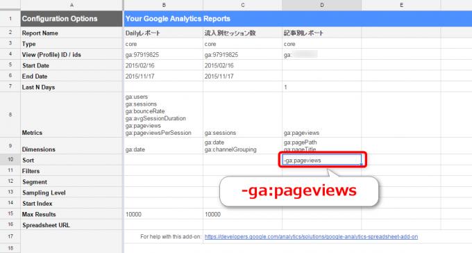 GoogleアナリティクスアドオンSortConfig