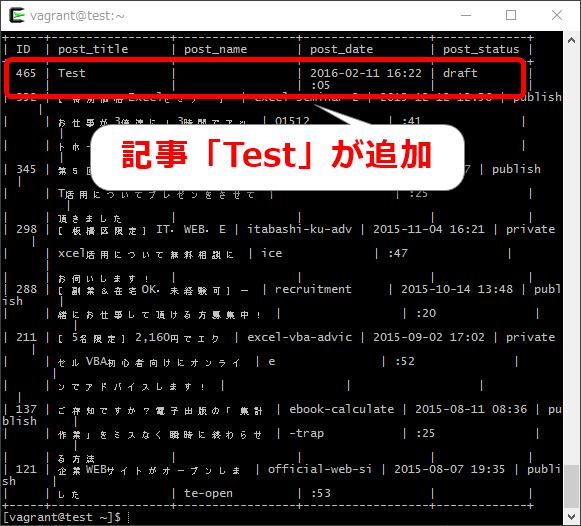 wpコマンドでテスト投稿をdraftで追加