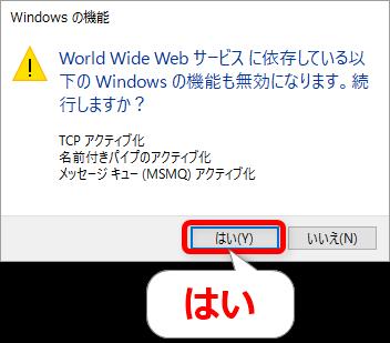 Windowsの機能ウィンドウ