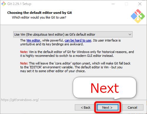 Gitインストール「Choosing the default editor used by Git」