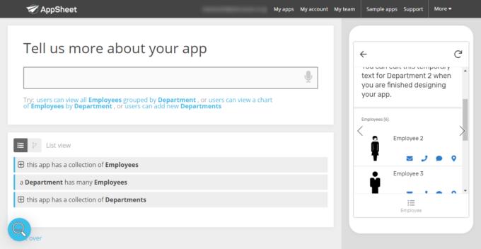 AppSheetのDepartmentの詳細ページ