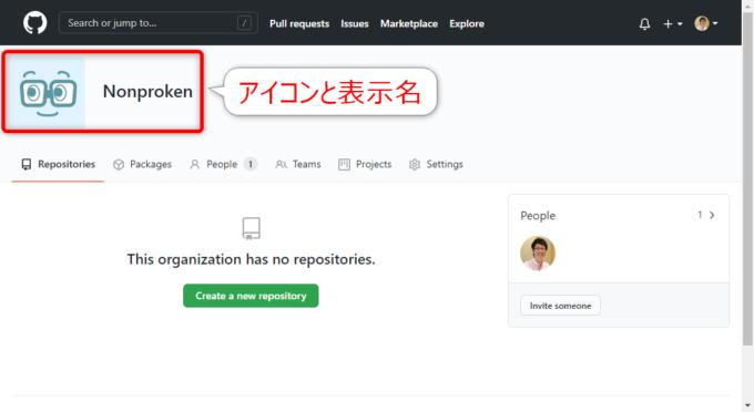 Organizationアカウントページ