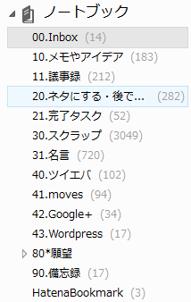 Evernoteのノートブック