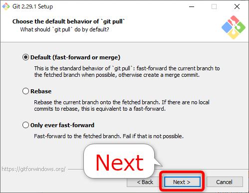 Gitインストール「the default behavior of `git pull`」