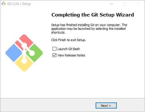 Gitインストールの完了