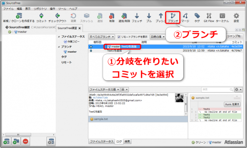 SourceTreeでブランチを切る