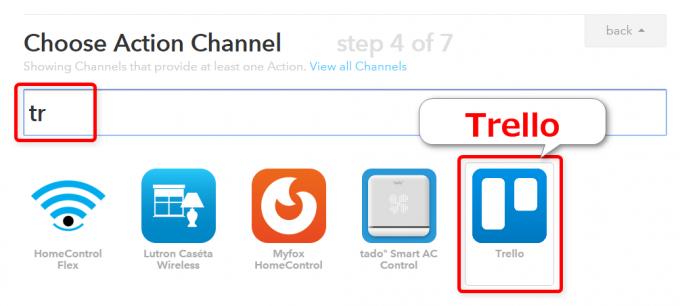 IFTTTで連携先アプリとしてTrelloを選ぶ