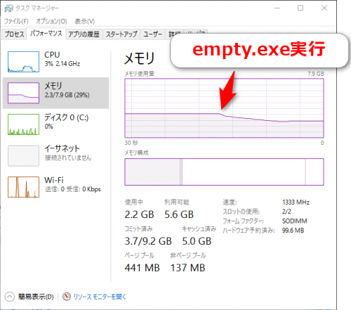 empty.exe 実行