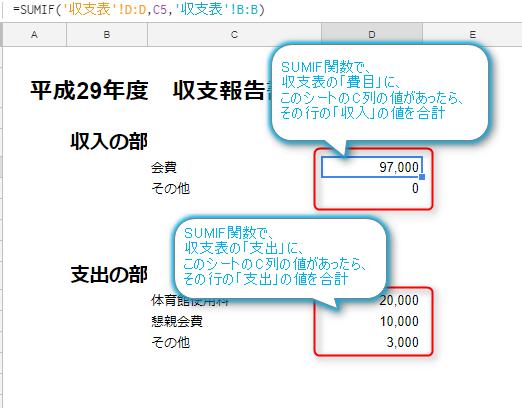 google,スプレッドシート,収支表報告書,レイアウト作成,sumif