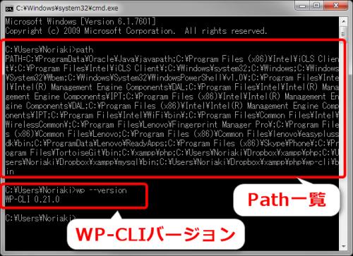 pathの実行とWP-CLIのバージョン表示