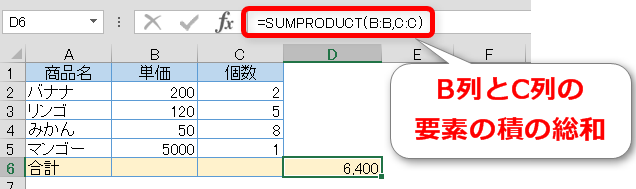 SUMPRODUCT関数の使い方