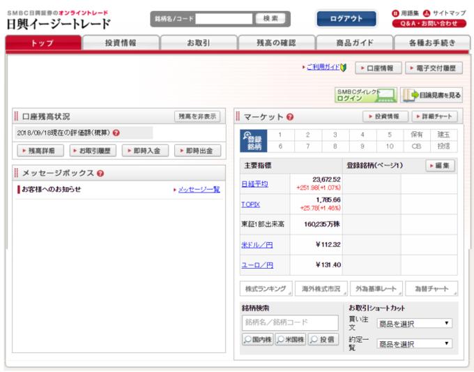日興証券ログイン後画面