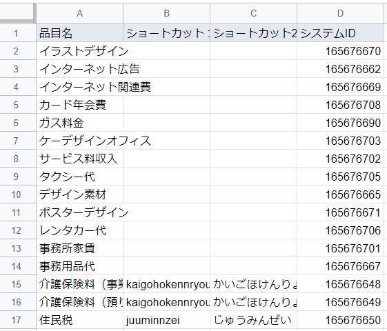 会計freee連携アドオン品目情報