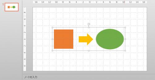 パワーポイントで複数オブジェクトをグループ化
